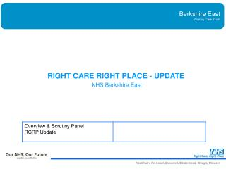 RIGHT CARE RIGHT PLACE - UPDATE NHS Berkshire East