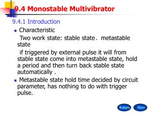 9.4 Monostable Multivibrator
