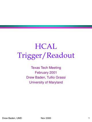 HCAL Trigger/Readout