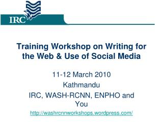 Training Workshop on Writing for the Web & Use of Social Media