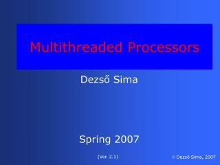 Multithreaded Processors