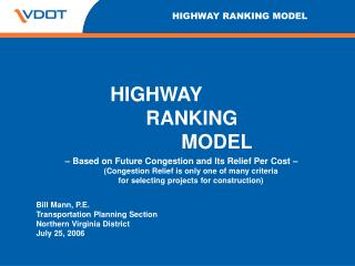 HIGHWAY 	RANKING 		MODEL