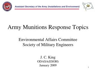 Army Munitions Response Topics Environmental Affairs Committee Society of Military Engineers