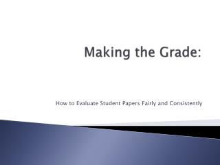 Making the Grade: