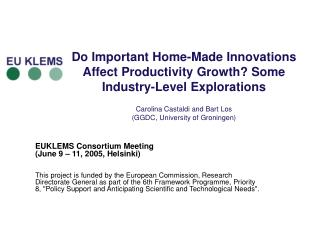 EUKLEMS Consortium Meeting (June 9 – 11, 2005, Helsinki)