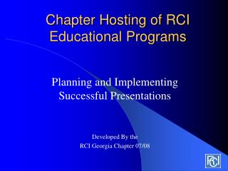 Chapter Hosting of RCI Educational Programs
