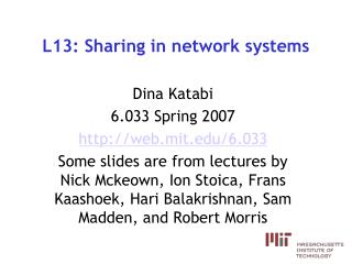 L13: Sharing in network systems