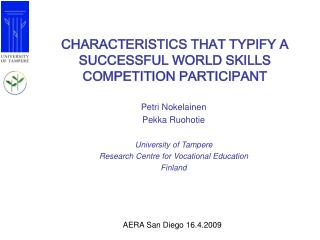 CHARACTERISTICS THAT TYPIFY A SUCCESSFUL WORLD SKILLS COMPETITION PARTICIPANT