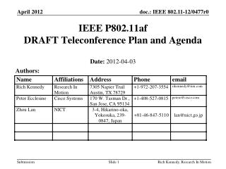 IEEE P802.11af DRAFT Teleconference Plan and Agenda