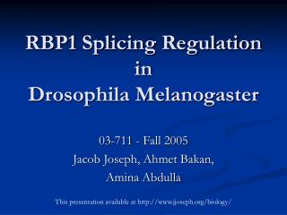 RBP1 Splicing Regulation in  Drosophila Melanogaster