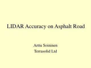LIDAR Accuracy on Asphalt Road