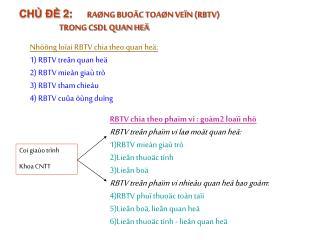 CHỦ ĐỀ 2:      RAØNG BUOÄC TOAØN VEÏN (RBTV)                          TRONG CSDL QUAN HEÄ