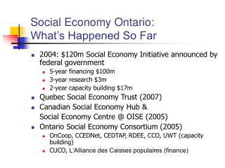 Social Economy Ontario:  What's Happened So Far