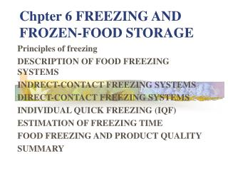 Chpter 6 FREEZING AND FROZEN-FOOD STORAGE