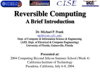 Reversible Computing A Brief Introduction