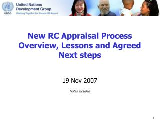 New RC Appraisal Process  Overview, Lessons and Agreed Next steps