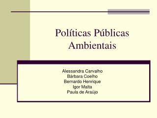 Políticas Públicas Ambientais