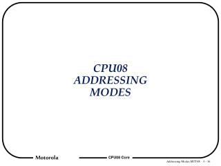 CPU08 ADDRESSING MODES