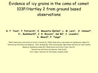 Evidence of icy grains in the coma of comet 103P/Hartley 2 from ground based observations