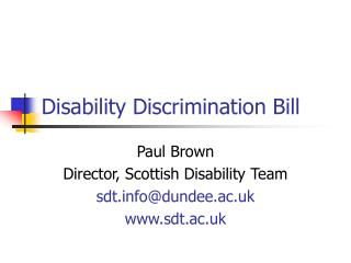 Disability Discrimination Bill