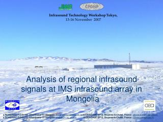 Analysis of regional infrasound  signals at IMS infrasound array in  Mongolia