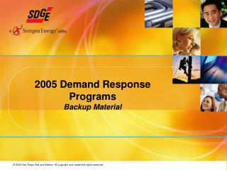 2005 Demand Response Programs Backup Material