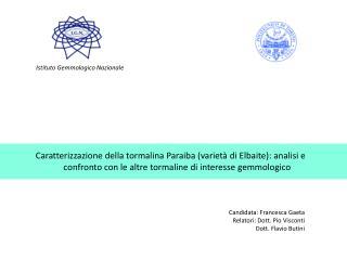 Candidata: Francesca Gaeta Relatori: Dott. Pio Visconti       Dott. Flavio Butini