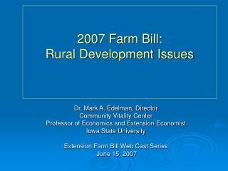 2007 Farm Bill: Rural Development Issues