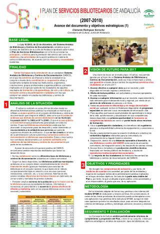 (2007-2010) Avance del documento y objetivos estratégicos (1)