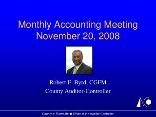 Monthly Accounting Meeting November 20, 2008