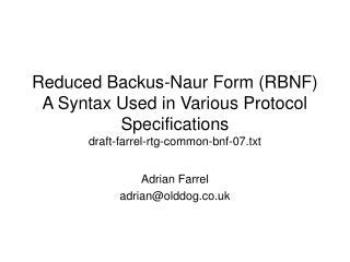 Adrian Farrel adrian@olddog.co.uk