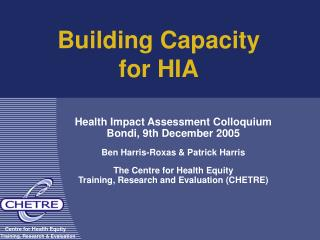 Building Capacity for HIA