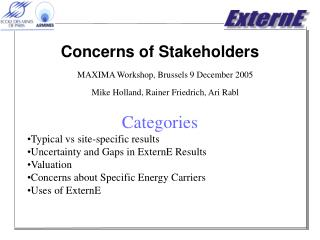 Concerns of Stakeholders