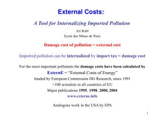 External Costs:  A Tool for Internalizing Imported Pollution