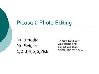 Picasa 2 Photo Editing
