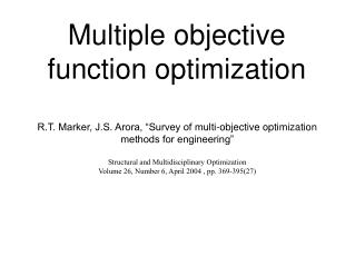 Multiple objective function optimization