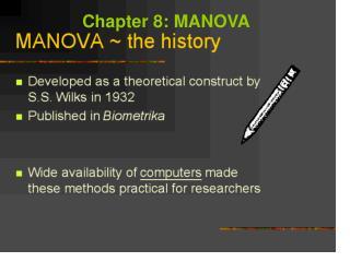 Chapter 8: MANOVA