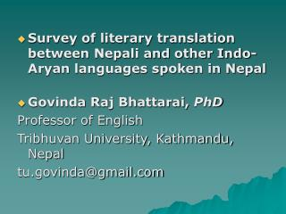 Survey of literary translation between Nepali and other Indo-Aryan languages spoken in Nepal
