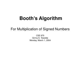 Booth�s Algorithm