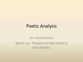 Poetic Analysis