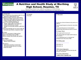 A Nutrition and Health Study at Worthing High School, Houston, TX