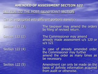 AMENDED OF ASSESSMENT SECTION 122