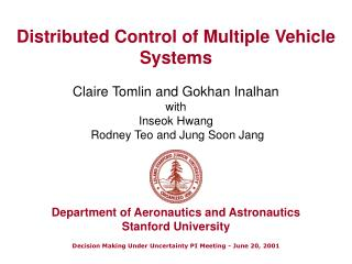 Distributed Control of Multiple Vehicle Systems