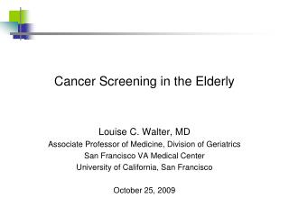Cancer Screening in the Elderly