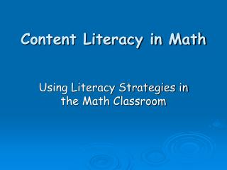 Content Literacy in Math