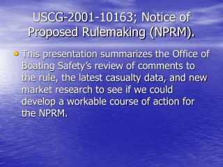 USCG-2001-10163; Notice of Proposed Rulemaking (NPRM).