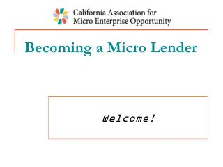 Becoming a Micro Lender