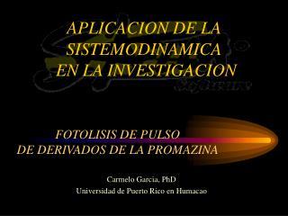 APLICACION DE LA SISTEMODINAMICA  EN LA INVESTIGACION