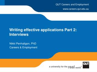 Writing effective applications Part 2: Interviews