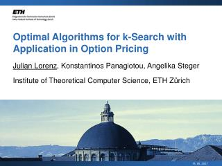 Optimal Algorithms for k-Search with Application in Option Pricing